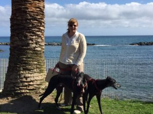 Signora con due levrieri, accanto ad una palma, sullo sfondo del mare